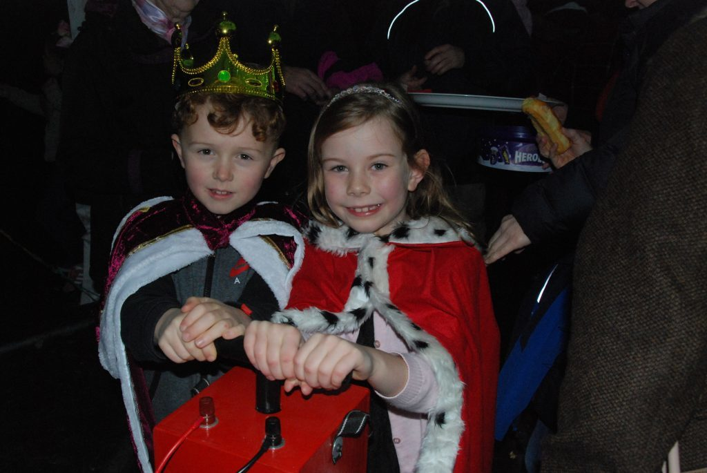 Ardrishaig Gala Prince and Princess, seven-year-old Emily Craig and Cole Houston aged 8, have the honour of turning on this year's Christmas lights. 08_a49ardrishaiglights01