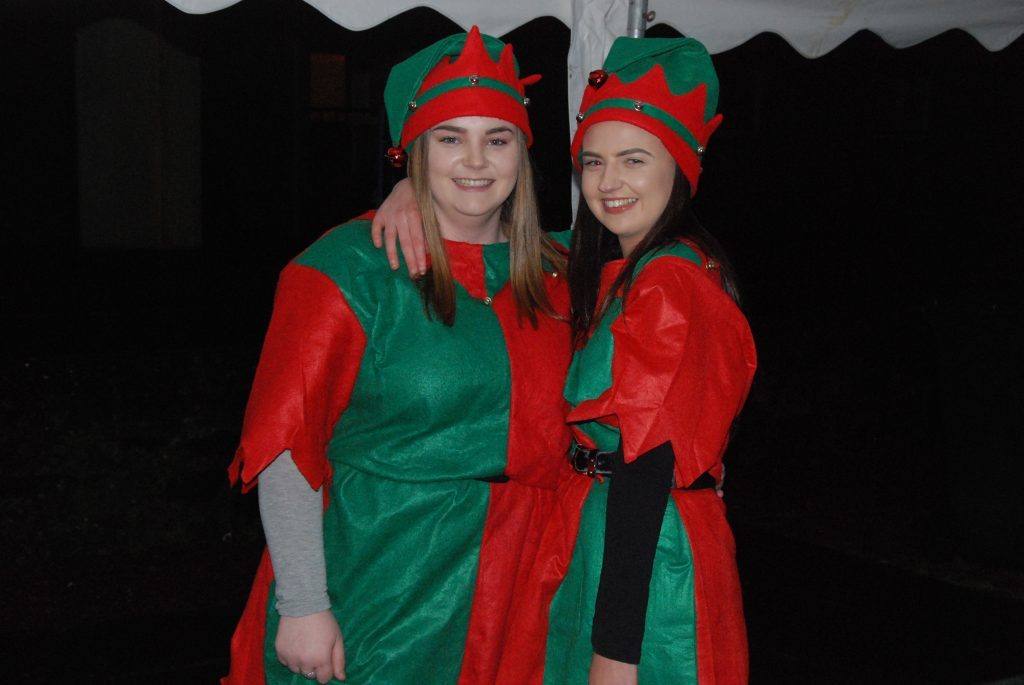 Two of Santa's elves, Jodie Gibb and Ashley Gorrie provided Christmas cheer at the light switch on. 08_a49ardrishaiglights02