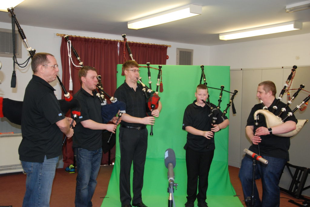 Pipers from Loch Fyne Pipe Band record at the Templar Hall on Saturday. 06_a07nancyglensong01