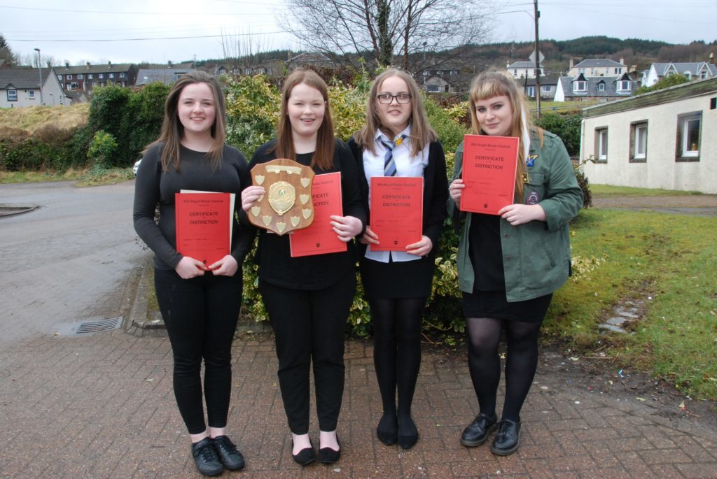 Brodie Crawford, Holly Renton, Eilidh Graham and Tiegan Holroyd who were placed in the vocal solo Gaelic competition.