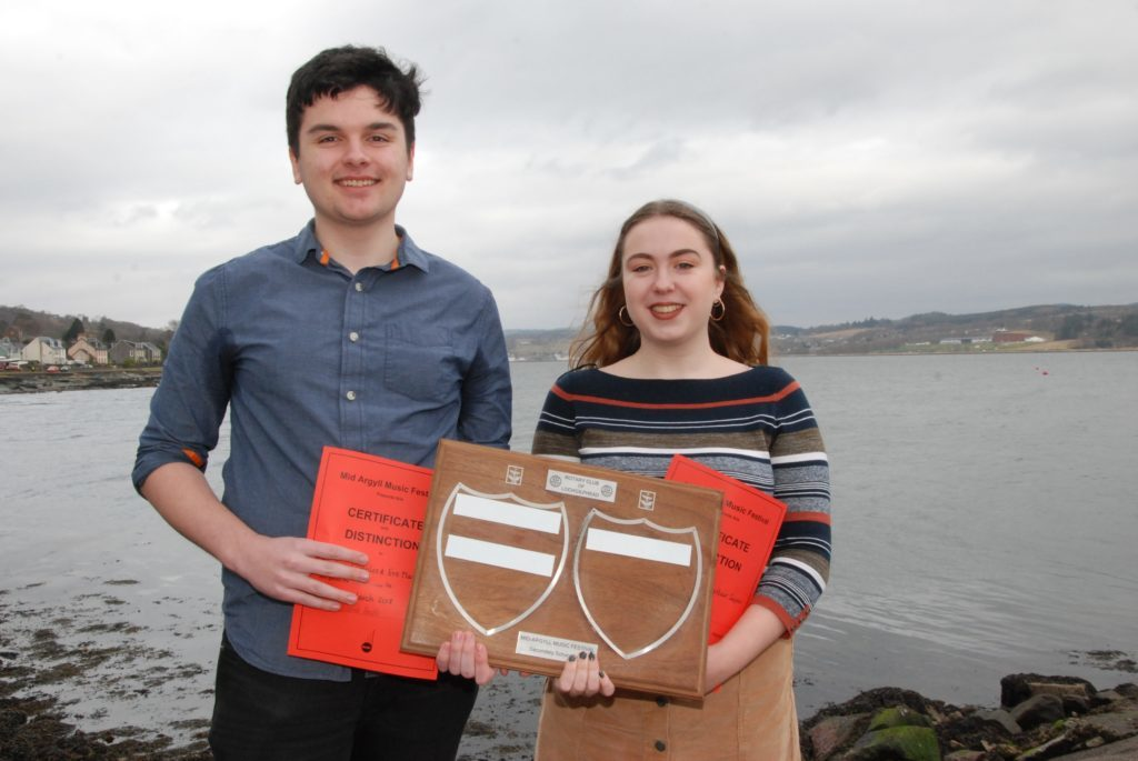 Alistair Cupples and Eve Maxwell who won the Lochgilphead Rotary Club Trophy for their performance in the vocal duet competition.