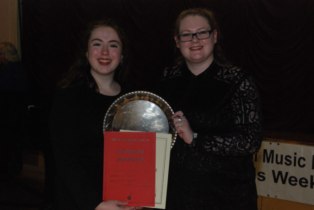 Eve Maxwell and Shona Keith who won the Kilmartin Hotel Plate in the adult vocal duet.