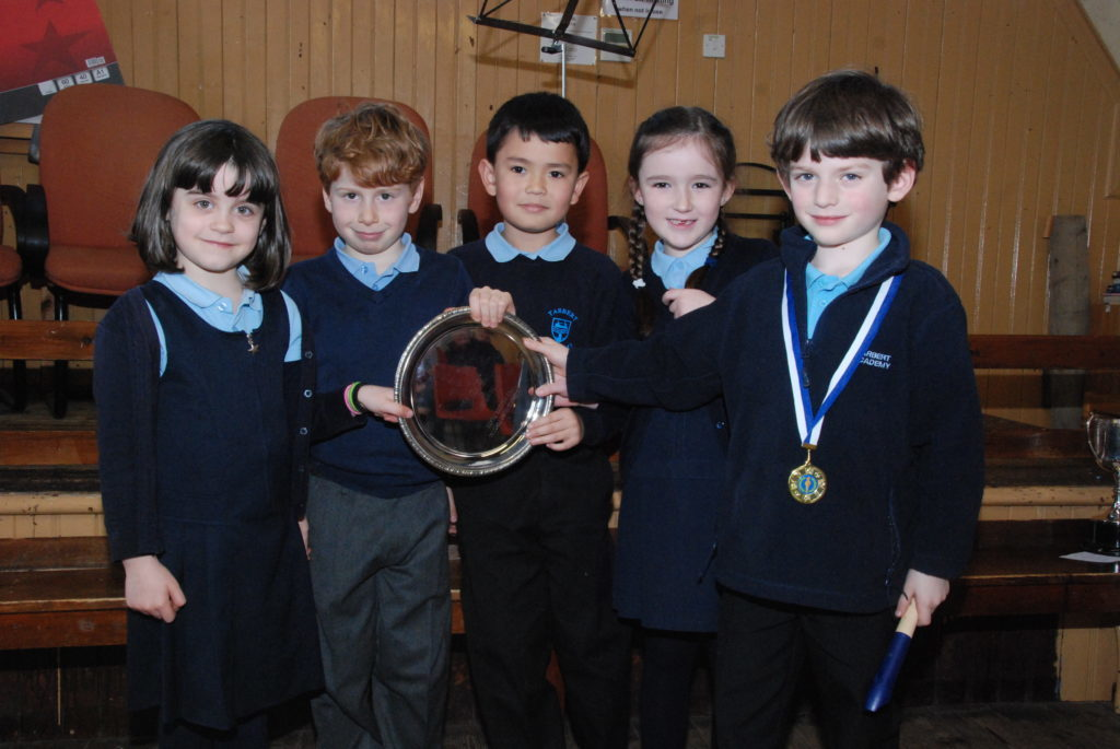 Tarbert Academy Juniors won the Hollies Plate in the traditional/folk group competition with their performance of 'Mairi's Wedding'.