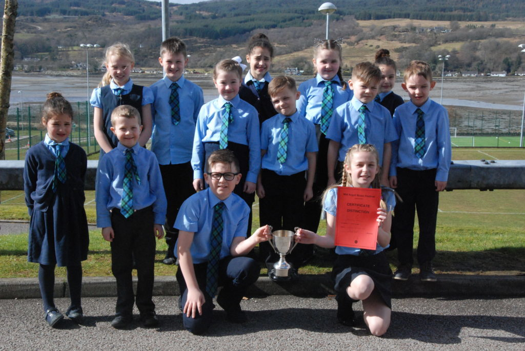 Winners of the Gaelic primary choir session were Inveraray Choir, pictured here with the Christina McDougall Trophy.