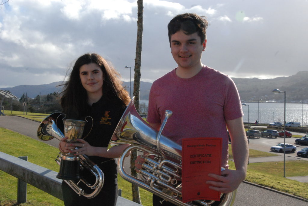 Amy Paterson and Alistair Cupples who competed in the brass solo for secondary years four to six.