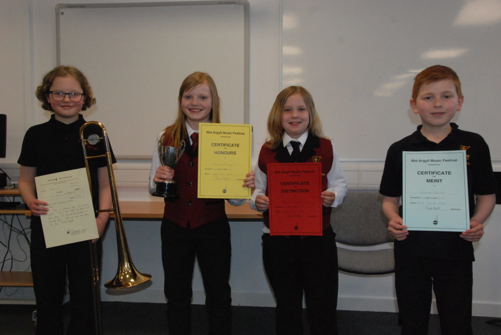 Finlay Love, Hannah McCaig, Grace MacTaggart and Charlie Colville who were placed in the primary brass solo.