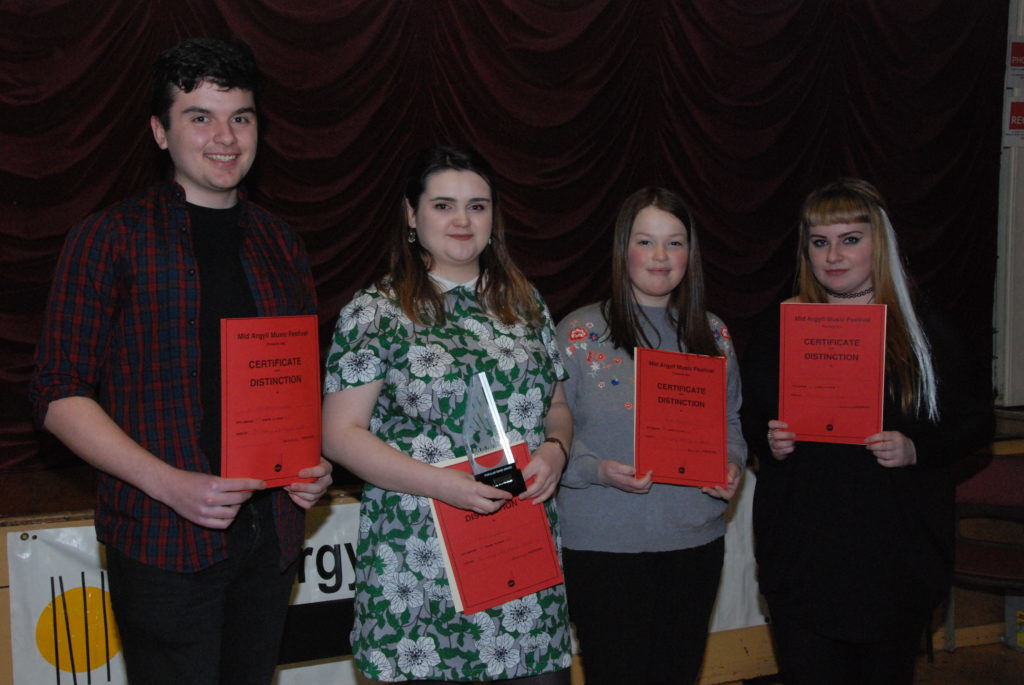 Popular song open winners from L-R: Alistair Cupples, Fiona Cupples, Holly Renton and Tiegan Holyroyd.