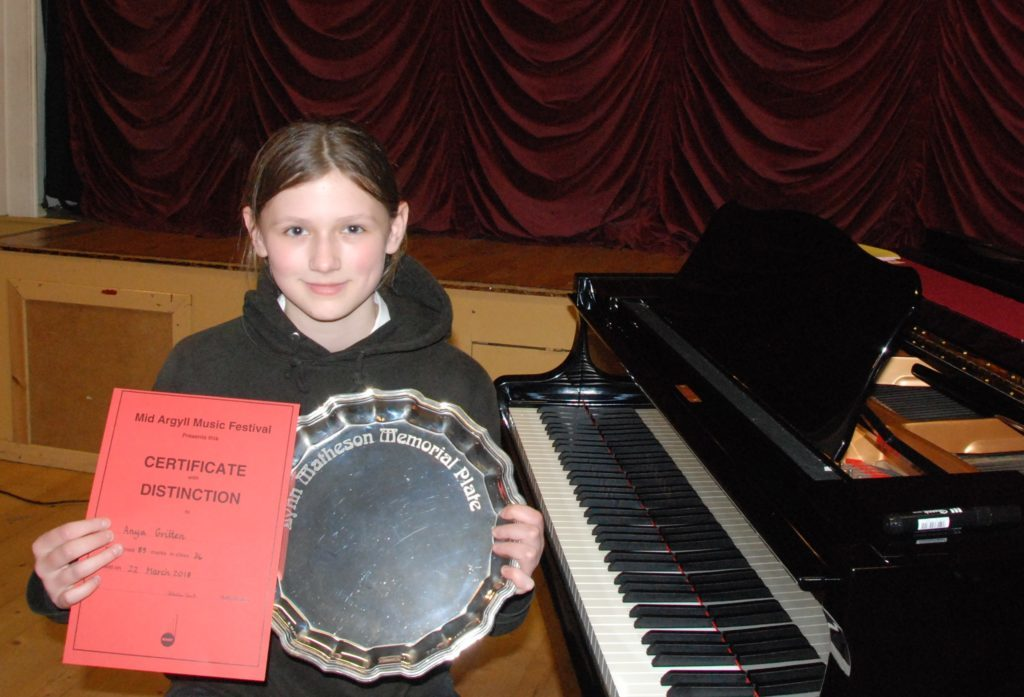 Lynn Matheson Memorial Plate winner Anya Gritten who came first in the grade two piano solo.