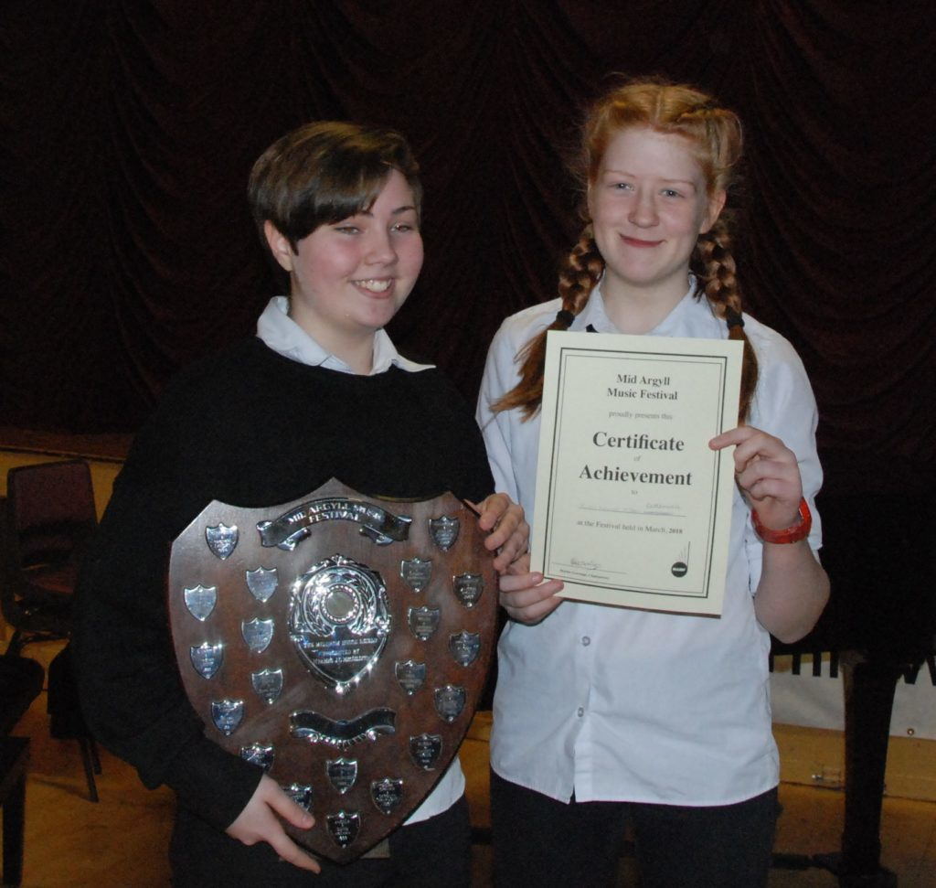 Intermediate piano duet winners Ruth Neville and Bea Campbell who also won the Meldrum House Shield for the highest mark of the session.