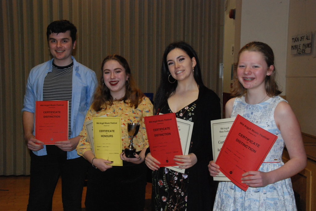 Winners from the junior songs from the shows class were Alistair Cupples, Eve Maxwell, Hannah Black and Rhona Love.
