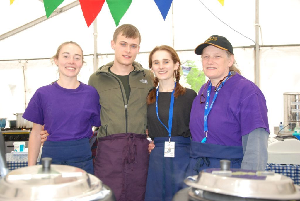Serving up delicacies including nettle soup, cullen skink and noodle pots with miso were Bella Borgstein, Jake MacLachlan, Isabella Sumsion and Virginia Sumsion on the Food from Argyll stand. 06_a19ScapaFest17