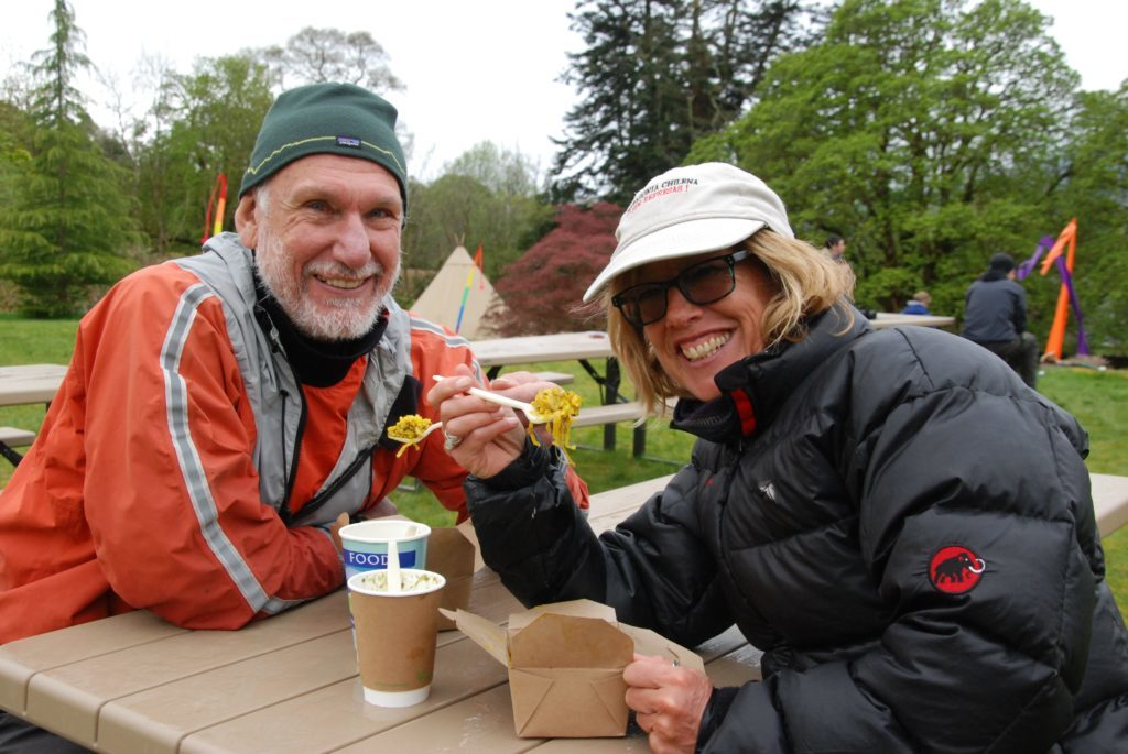 Instructors Chris Loynes and partner Kate Rawles enjoy 'vegeree' and nettle soup, which they described as 'very tasty'. 06_a19ScapaFest18