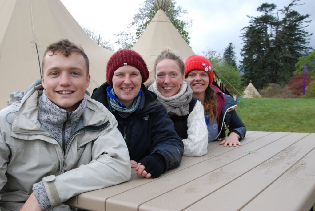 Forrest yoga teachers take a break - left to right: Callum Doherty from Ilkley, Louise Firetree of Northern Ireland, Janet McInnes from Edinburgh and Dundee's Laura Wighton. 06_a19ScapaFest25