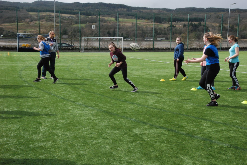 The sun was shining on the 3G pitch at Lochgilphead Joint Campus for the taster session. 08_a17girlsrugby06