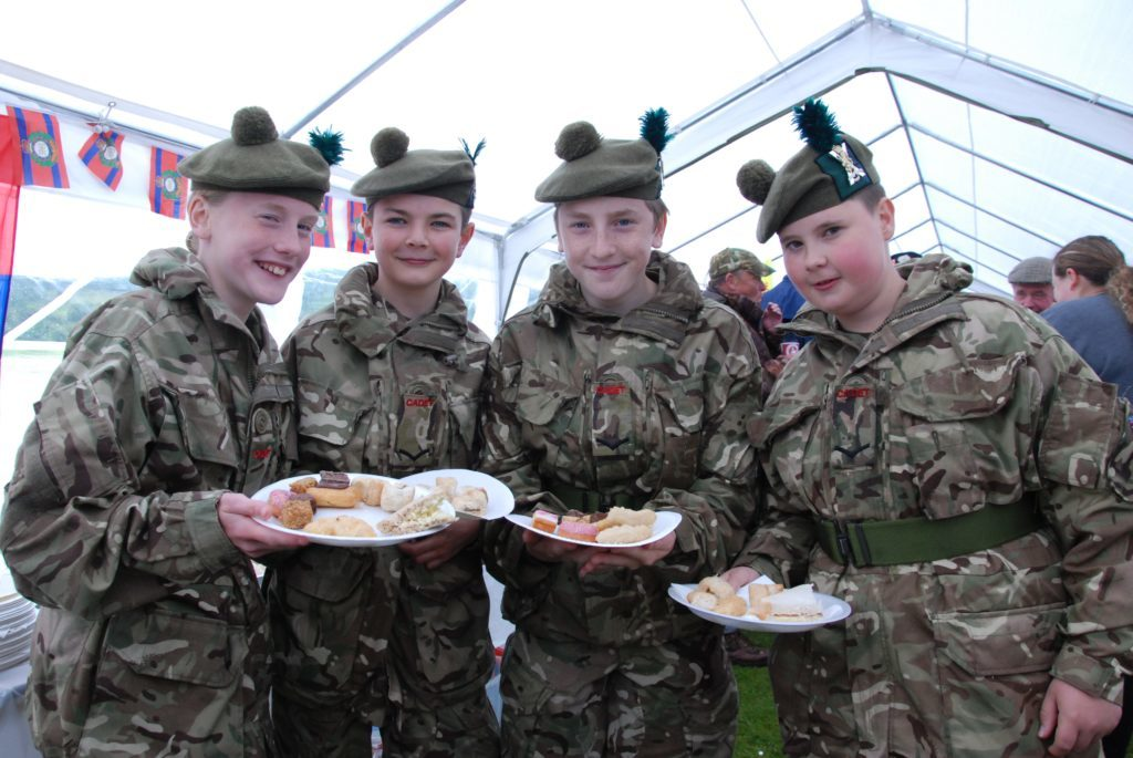 These Dunoon army cadets made the most of the food after the parade. From left are Olivia Lucas, Mitchell Nairn, Ben Lucas and Tommi McGunnigal. 06_a25AFD01