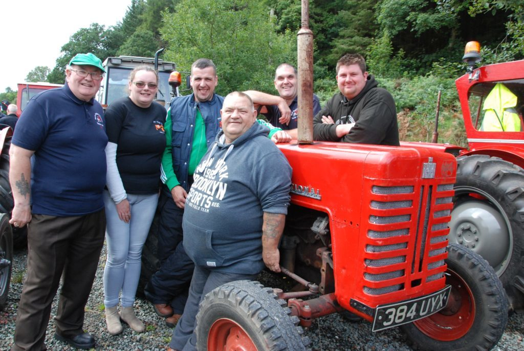 This group of visiting enthusiasts had a great time. From left: Tam MacDonald of Blyth Bridge and District Tractor Club, Amie Rich from Bute Vintage Club, Joe Johnstone of Rothesay, Robert Rich from Rothesay, Alex Pettie from Blyth Bridge and Michael McLaren, Blyth Bridge.
