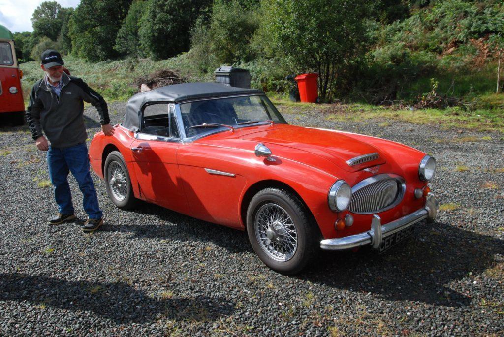The smart three litre Mk III Austin Healey belonging to Tom Paton.