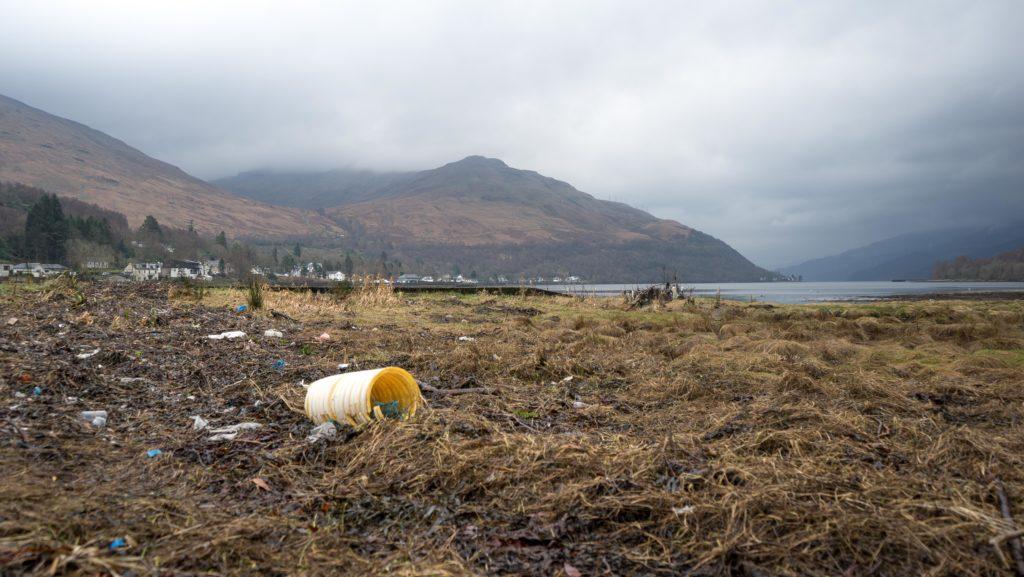 Debris at the head of Loch Long near Arrochar