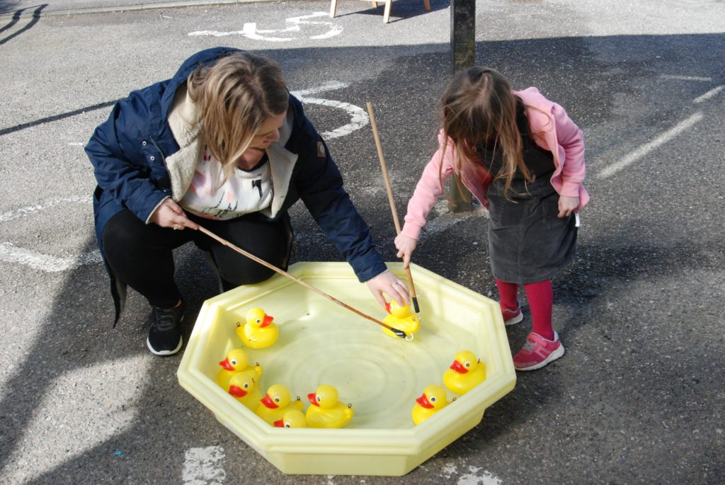 Hook-the-duck is a popular challenge for the kids