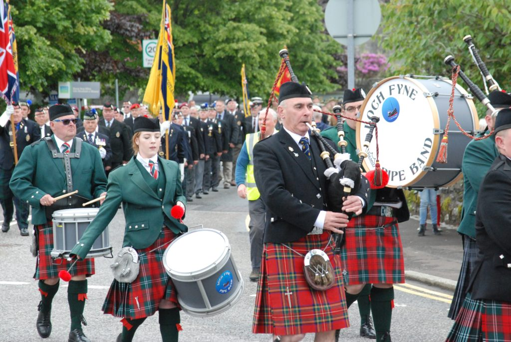 Loch Fyne Pipe Band leads the Lochgilphead Armed Forces Day parade