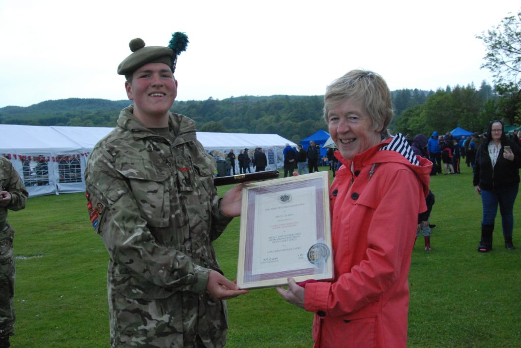 Cadet Staff Sergeant Xavier Graysmark from Dunoon was appointed Lord Lieutenant's Cadet, pictured with Vice Lord Lieutenant Jane MacLeod receiving his certificate