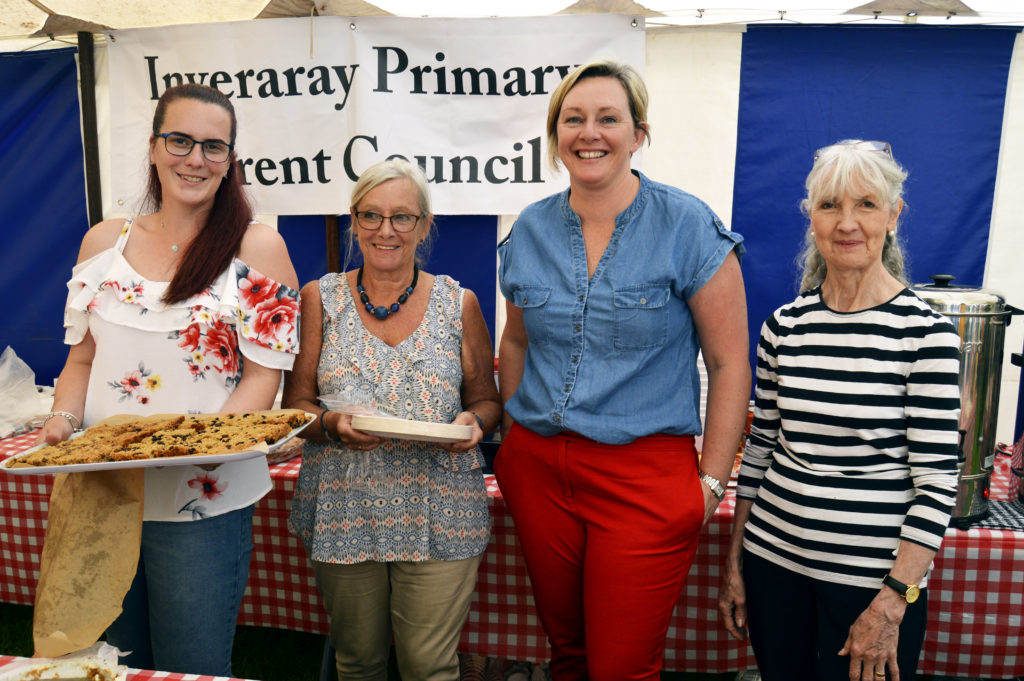 Inveraray Primary School parent council baked up a storm for the refreshments tent as usual; this is one of the main fund-raisers for the school. Left to right: Jayne McCulloch, Alison Buchanan. Alyssa Stewart, and Maureen Renton.  The team also included Ann MacColl Smith. JS29INVGAMES14
