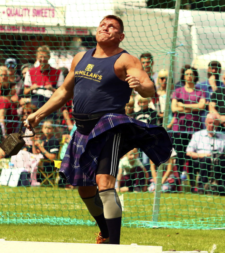 Neil Elliot from Helensburgh throwing the 56lb weight for distance. Photograph: Kevin McGlynn