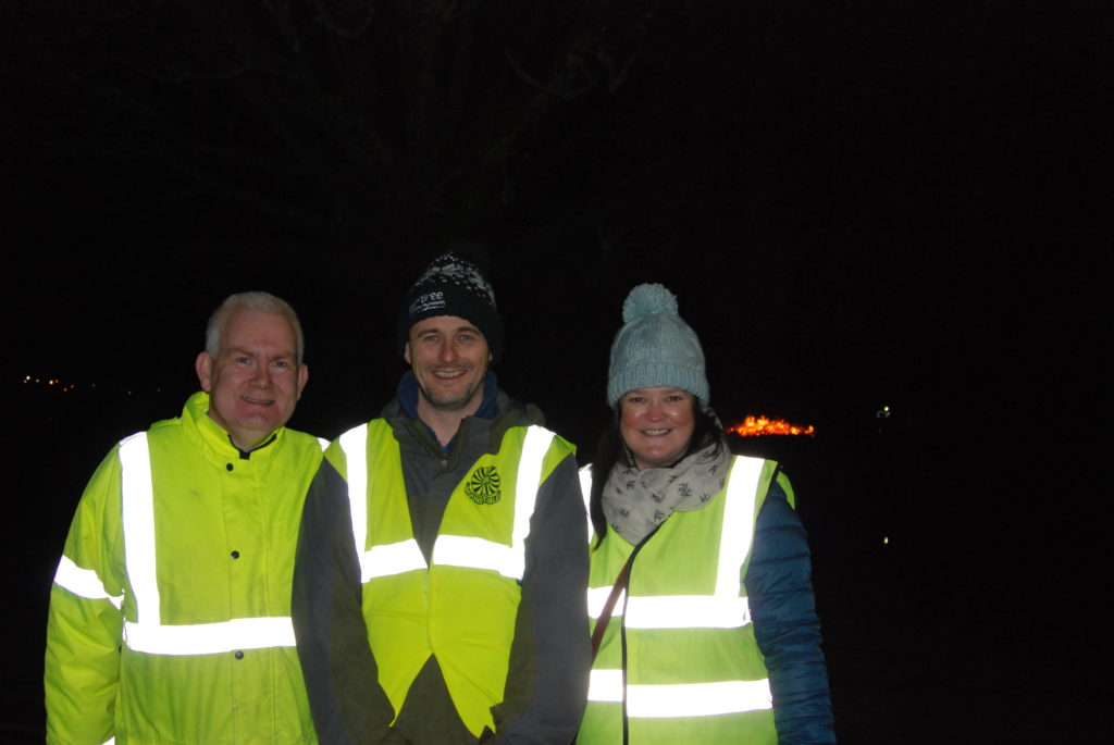 Shaking buckets and collecting on the night were Colin McLean and Colin and Carys Macfarlane