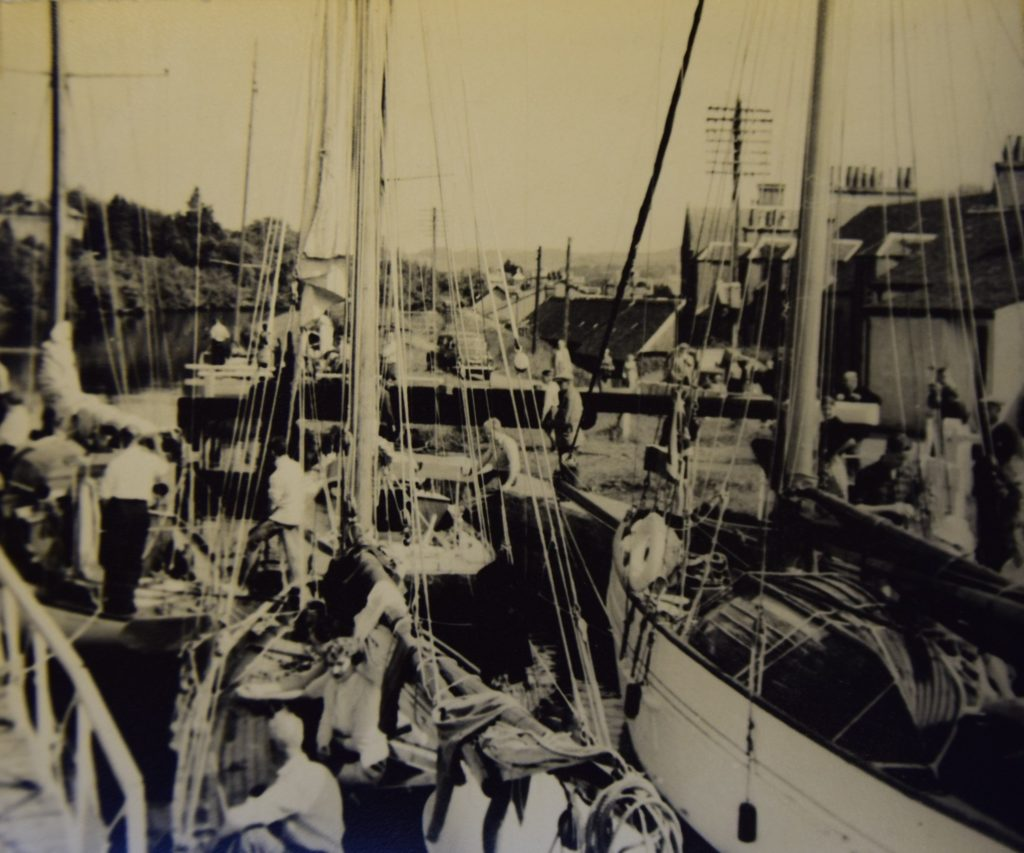 From the log - a packed Crinan Canal at Ardrishaig during the 1956 Tobermory Race