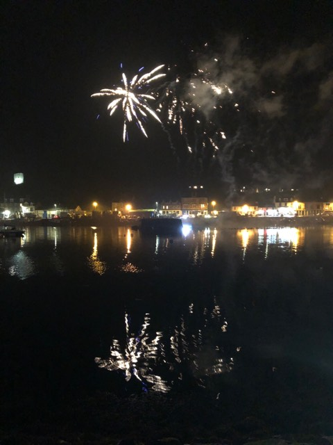 Fireworks were launched from the Beilding, in the middle of Tarbert Harbour