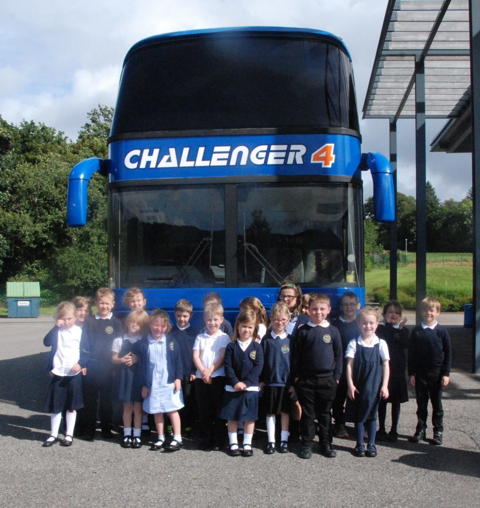 Double decker brings message to local schools