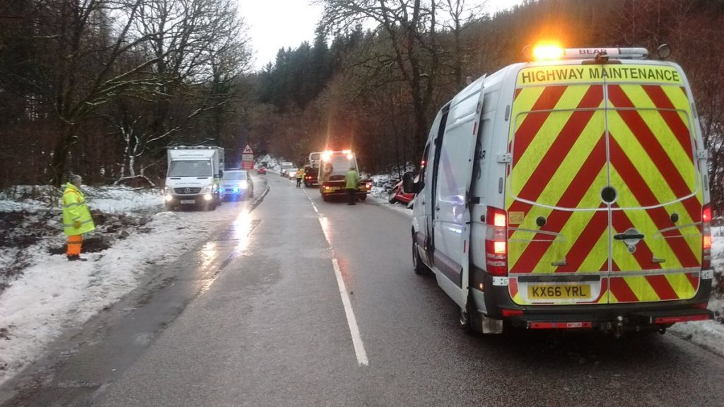 Police weather warning after crash on 'slippy' A83