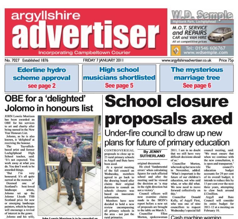 Argyllshire Advertiser PDF Archive 2011
