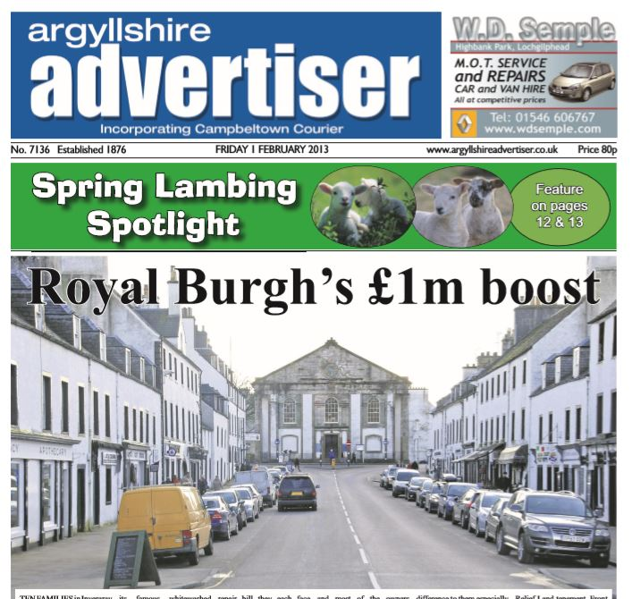 Argyllshire Advertiser PDF Archive 2013