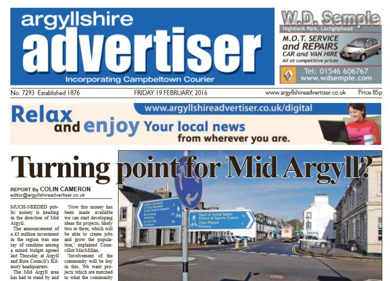 Argyllshire Advertiser PDF Archive 2016